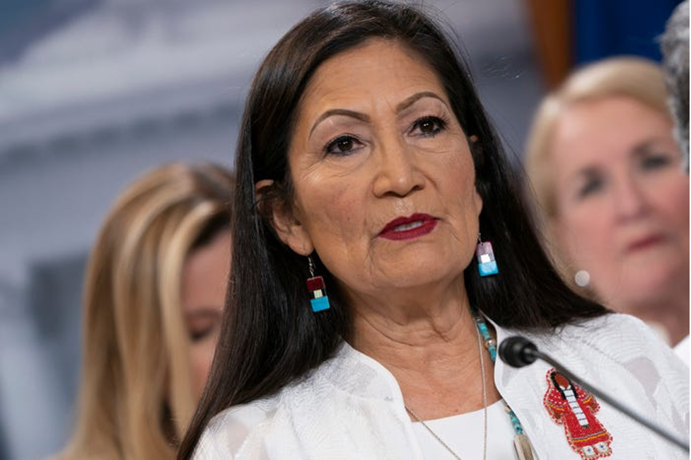 Rep. Deb Haaland speaks at the Capitol on February 4, 2020. Should Biden pick her for the top Interior job, she would oversee the agency most involved in tribal affairs. Photo by Alex Edelman/Getty Images