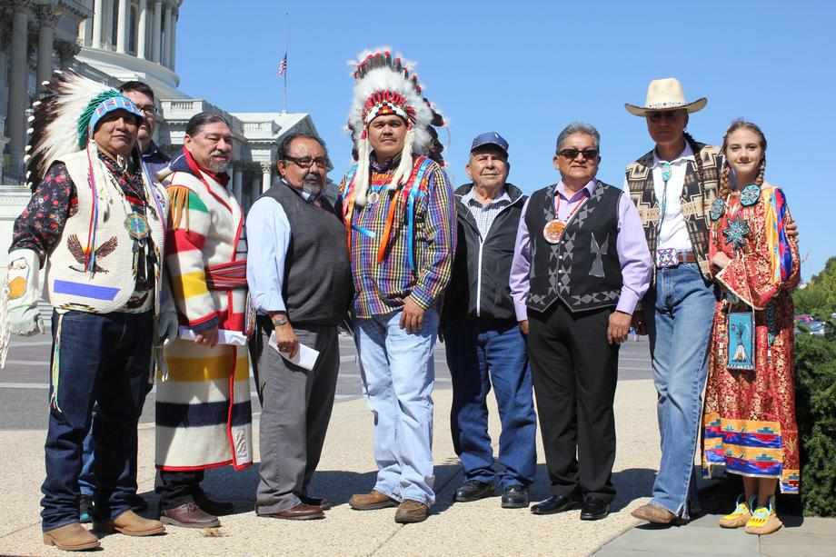 Congressman Grijalva thanking tribal leaders for their efforts to protect the grizzly bear.