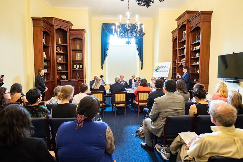 Ranking Member Grijalva and Democratic Members of the Natural Resources Committee gather with panelists and stakeholders to discuss protecting the Arctic National Wildlife Refuge.