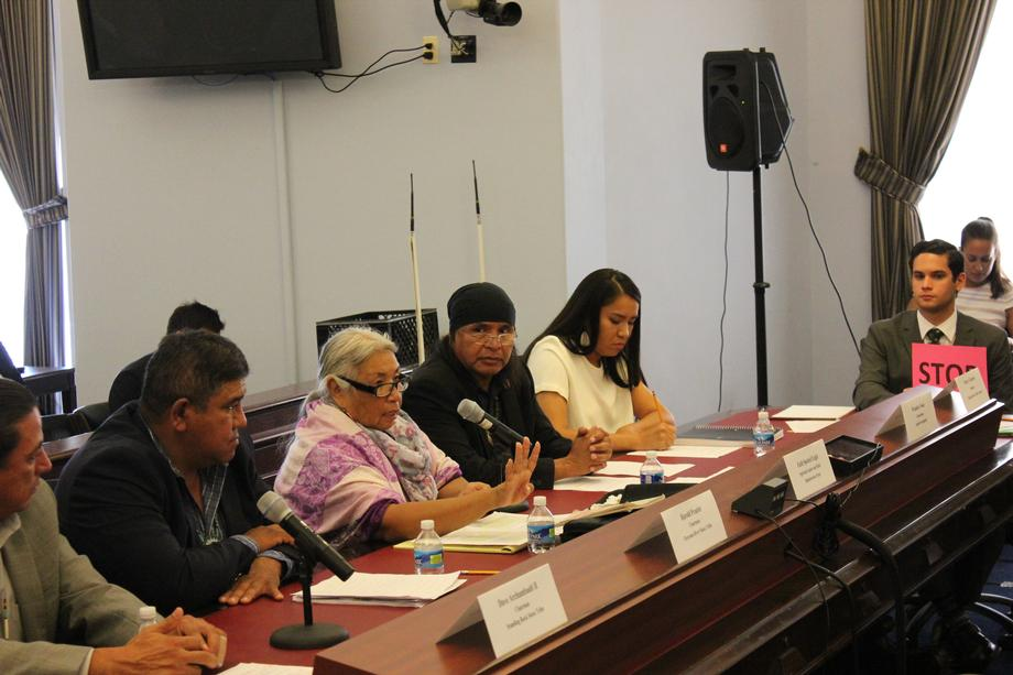"Faith Spotted Eagle, an Ihanktonwan Oyate Spiritual Leader and Elder, (Center) testifies at the ""Taking a Stand"" Forum."