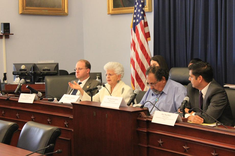"Rep. Grace Napolitano (D-CA) (Middle-Left) questions the ""Taking a Stand"" panelists about the current issues that Native American Tribes are facing, while Rep. Polis (Left), Ranking Member Raul Grijalva (D-AZ) (Middle-Right), and Rep. Ruiz (Right) listen intently."