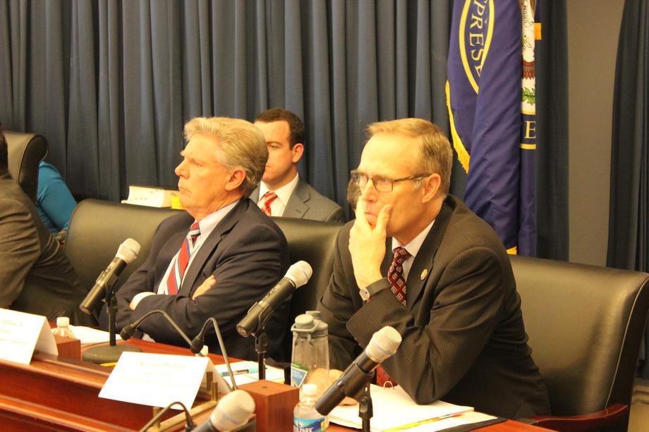 "Reps. Frank Pallone (D-NJ) and Jared Huffman (D-CA) (Right) listen to the ""Taking a Stand: panelists' testimony."
